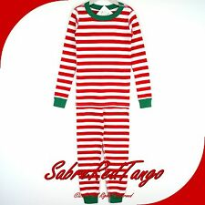 NWT HANNA ANDERSSON ORGANIC LONG JOHNS PAJAMAS VERY MERRY RED WHITE 160 14