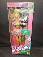 Barbie 1988 1350 Animal Lovin' Barbie Doll Pet Panda Nrfb Read Description