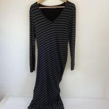 Gorgeous Cora Kemperman Black Ruched Long Twist Dress Size M   Wool Mix   A16