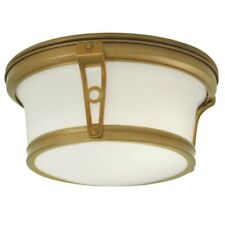"Norwell Leah Flushmount Lighting / Light Fixture 10"" Aged Brass Art Deco"