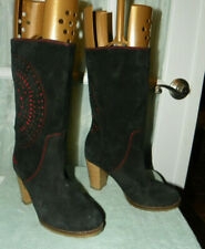 Desigual Black Suede Mid Calf Heeled Boots Women's size EU 39 made in Spain