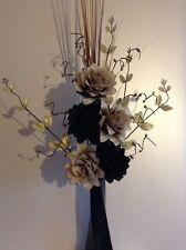 Artificial Silk Flower Arrangement In Black, Brown & Gold  In Black Vase