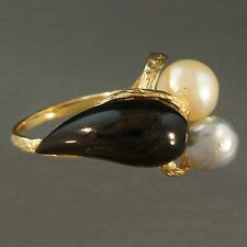 Modern, Solid 14K Gold, Organic Free Form, Black Coral, Grey & White Pearl Ring