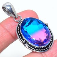 "Bi-Color Tourmaline Gemstone Handmade Ethnic Jewelry Pendant 1.97"" VS-366"