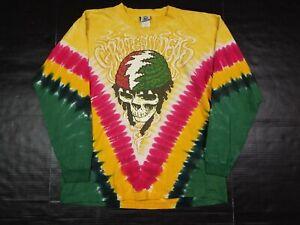 Grateful Dead GDM Liquid Blue 2003 Rasta Reggae Tie Dye L/S T-Shirt Size L