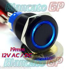 PULSANTE MONOSTABILE 19mm ALLUMINIO NERO SPDT LED BLU 12V DC IP67 DEVIATORE 5A