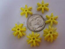 100 14mm Bright Yellow Star Starburst Snowflake Cartwheel Sunburst Beads