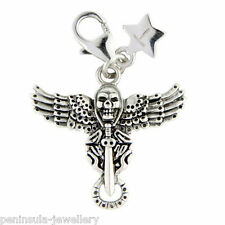 Tingle Winged Skull Sterling Silver clip on Charm with Gift Bag and Box