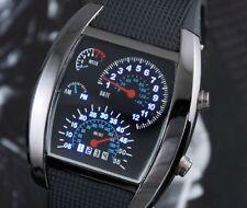 Negro Reloj Hombre Azul LED Digital BINARIO Aviación Cuarzo Mens Wrist Watch