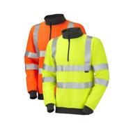 Leo Workwear Brynsworthy SS01 Hi Vis 1/4 Zip Sweatshirt Class 3 Yellow