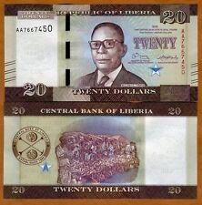 Liberia, 20 dollars 2016 (2017), P-New, AA-Prefix UNC > Redesigned
