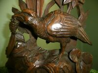 ANTIQUE 19thc BLACK FOREST OAK CARVING OF A WATER FOWL EATING SEED HEAD