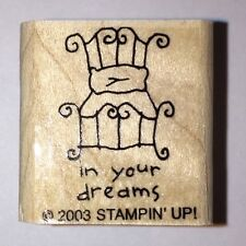 :: Stampin' Up! Single Stamp - IN YOUR DREAMS bed wood mount NEW ::