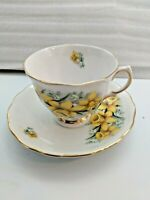 Colclough Ridgeway Bone China England Yellow Floral Tea Cup & Saucer