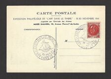 France 1941 Philatelic Exposition Paris postcard with Exhibition postmarks