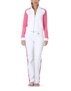 BCBG MAXAZRIA Branded Logo Jacket & Pant Set BC12869J/P White/Pink