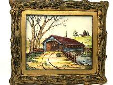 Vintage Artini Sculpture Engraving Framed Art Hand Paint Train Lake Bridge