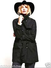 NEW Free People Black Military Belted Heavy weighted Wool Coat S