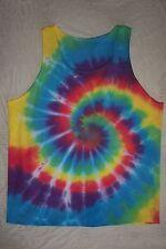L tank top TIE DYE hippy mens t shirt aqua red yellow purple swirl deart art  LG