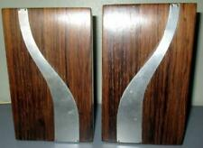 PAIR MID-CENTURY MODERN ROSEWOOD BOOKENDS WITH CHROME ACCENTS