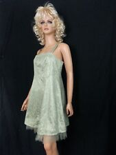 VTG Hand Made Short Party Dress Pastel Green Lace Strappy Lined Net Hem S to M