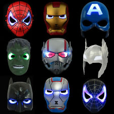 Marvel Avengers Hulk Ironman Spider-Man LED Mask Hero Cosplay Toy Kids Gift
