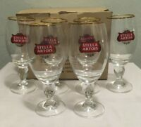 Set of 6 Authentic Stella Artois Original Gold Rim Beer Glass Chalice 33CL