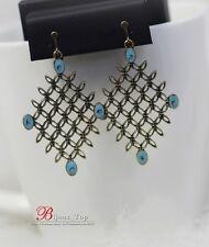 Boucles d`Oreilles Clips Email Bleu Creux Diamentine Retro Vintage Ancien BB 6