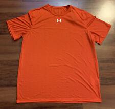 New Under Armour Ua S/S Locker T-Shirt HeatGear Orange 1305775 860 Men's Large L
