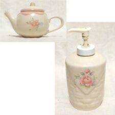 pfaltzgraff tea rose: Lotion Dispenser, Mini Teapot Candle Holder with candle,