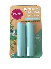 eos Organic Lip Balm Stick, Sweet Mint, 0.14 oz, 2 Ct 100% Natural Shea Lip Balm