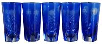 """5 Bohemian Cobalt Blue Cut to Clear Sunflower Etched Crystal Shot Glasses 3"""""""