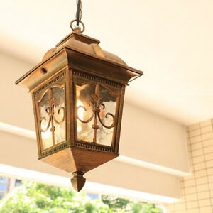 Vintage Country Square Metal Lantern Frosted Glass Garden Ceiling Pendant Lights