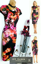 Gorgeous TED BAKER Catina Black Floral Sheath Pencil Bodycon Zip Dress 4 14 16