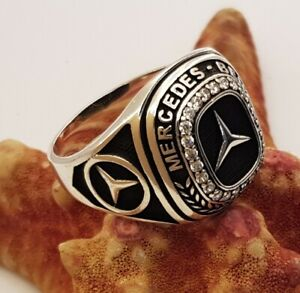 Mercedes Logo Mens Ring Solid 925 Sterling Silver black paint white zircon gift