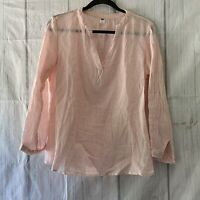 Old Navy Women's M Popover Long Sleeve Pink/White Linen Blend Tunic Top # 54023