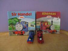 "Thomas The Tank's Friends ""SIR HANDEL & RHENEAS"" METAL trains with 2 mini bookS"