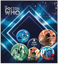 Dr. Who Retro pack of 6 round pin badges incl. Keep Calm..    (ge)