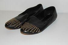 STEVEN by Steve Madden Women's Melter Studded Leather Loafer Flats Black Gold 8M