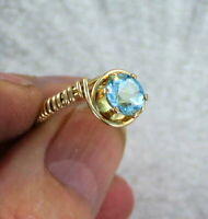 Genuine  Blue Topaz Gemstone Ring in 14kt. Rolled Gold   Size 5 to 15