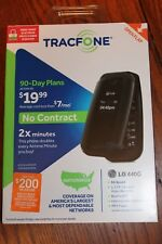 New Tracfone LG 440G - Black - Cell Flip Prepaid Phone - Double Minutes
