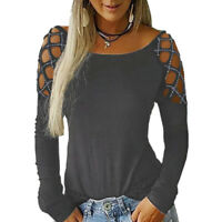 Women Round Neck Hollow Long Sleeve T-shirt Tops Ladies T-shirt Blouse Tops