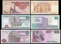 EGYPT EGIPTO  SET 3 Pcs  1 5 Y 10 POUNDS  2005-2018 NEW UNC