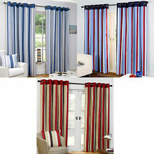 Polycotton Striped Eyelet Top Curtains & Pelmets