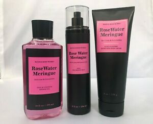 Bath & Body Works ROSE WATER MERINGUE Mist,Shower Gel & Body Cream SET OF 3