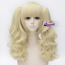 Women's Fashion 12'' Light Blonde Short Curly Ponytails Cosplay Wig With Bangs