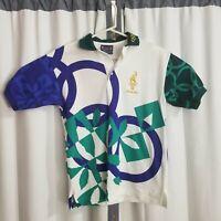 VTG 1996 Atlanta Olympic Hanes Adult Size Small S Staff Green Blue Polo Shirt