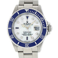 Rolex Mens Stainless Steel Blue Submariner Watch with MOP Diamond Dial 16610