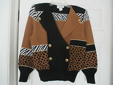 TOULA ANIMAL PRINT DOUBLE BREASTED VINTAGE SWEATER SIZE 8 / M BEAUTIFUL BUTTONS