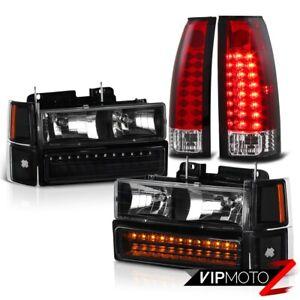 1994-1998 Chevy K1500 K2500 Suburban Tahoe Red LED Brake Tail Lamp DRL Headlight